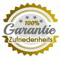 Detail aus der Website: Ein Siegel mit der Zusicherung '100% Garantie Zufriedenheits-'.