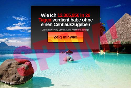 Screenshot der betrügerischen Website mit dem Text 'Wie ich 12.365,95€ in 26 Tagen verdient habe ohne einen Cent auszugeben. Die ist ein Gratis Service. Keine Kreditkarte benötigt. [Zeig mir wie!]'.