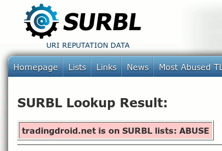 Screenshot des Ergebnisses einer Domainabfrage bei SURBL: tradingdroid.net is on SURBL lists: ABUSE