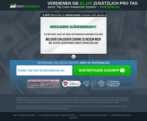 Screenshot der betrügerischen Website 'Profit Maximizer'.