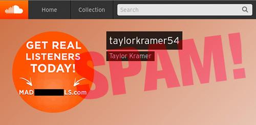 Screenshot aus einem Soundcloud-Profil. Die Spambotschaft wird vom Avatar transportiert, in dem 'Get Real Listeners Today', gefolgt von einer Domain, steht