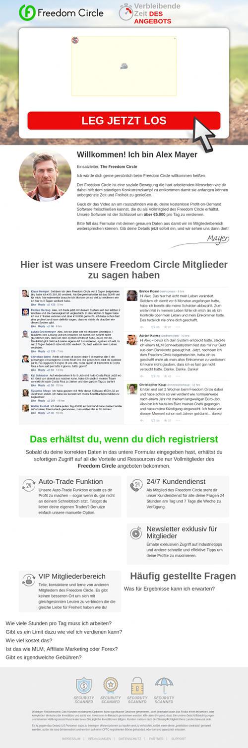 Screenshot der betrügerischen, mit Spam beworbenen Website 'Freedom Circle'.