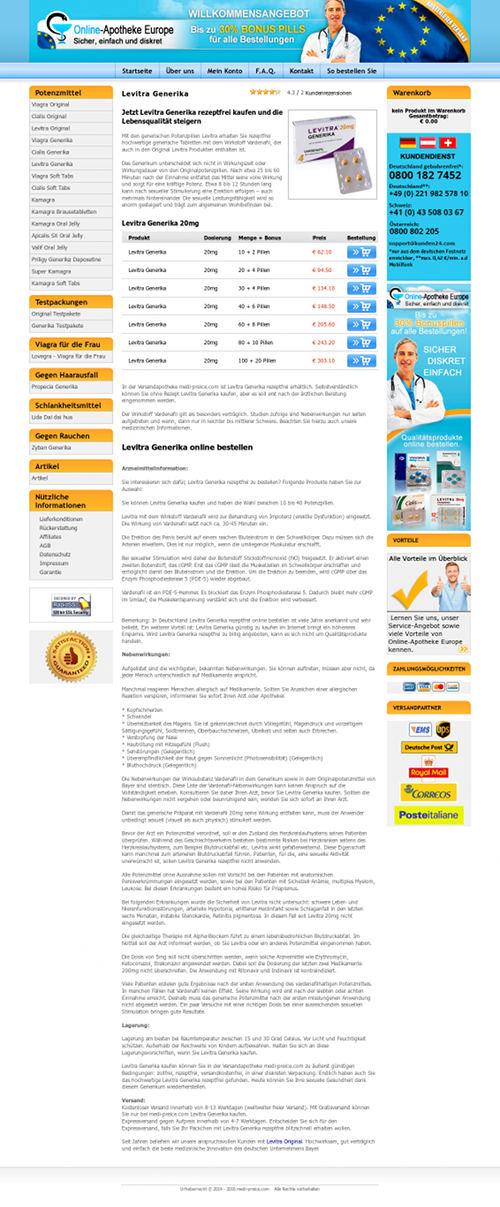 Screenshot der betrügerischen Website einer angeblichen Internet-Apotheke