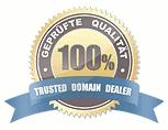 Detail aus der Website in der Domain onlineklinik.de mit einem Siegel, in dem 'Geprüfte Qualität -- 100% -- Trusted Domain Dealer' zu lesen ist