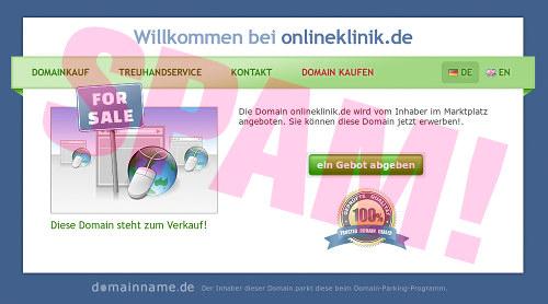 Screenshot der Website in der Domain onlineklinik.de mit dem Angebot, dass die Domain käuflich zu erwerben sei
