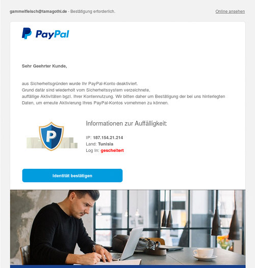 Screenshot des Layouts der Spam, wie es in einer Mailsoftware erscheint