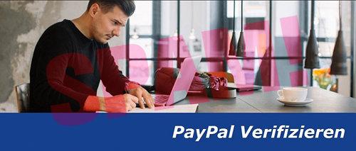Detail aus der Spam: Bild eines Mannes, der angespannt an seinem Klappcomputer sitzt, mit dem Text 'PayPal Verifizieren' darunter.