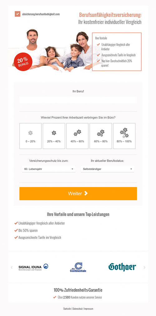 Screenshot der mit Spam beworbenen Website
