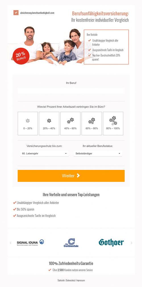Screenshot der mit Spam beworbenen Website