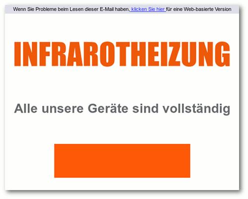Wenn Sie Probleme beim Lesen dieser E-Mail haben, klicken Sie hier für eine Web-basierte Version -- INFRAROTHEIZUNG -- Alle unsere Geräte sind vollständig
