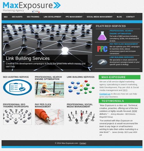 Screenshot der Website der spammenden SEO-Spammer, die sich 'Max Exposure' nennen