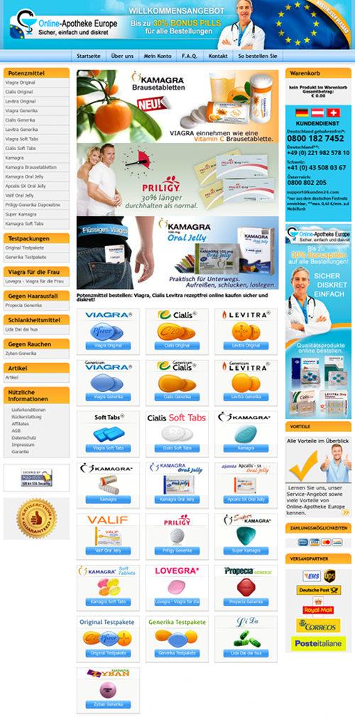 Screenshot der betrügerischen Website Online-Apotheke Europe