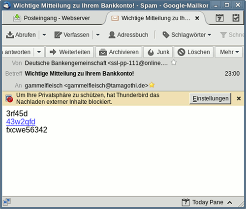 Screenshot Thunderbird. Externe Grafiken werden nicht dargestellt. Sichtbar sind die ALT-Texte der Bilder. Der Text lautet: 3rf45d -- 43w2qfd -- fxcwe56342