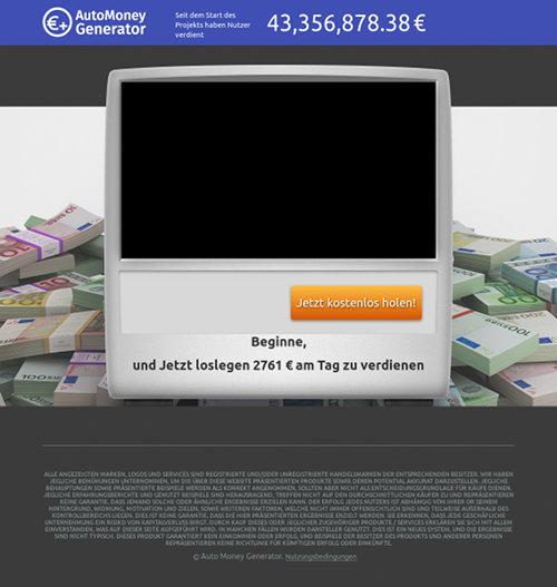 Screenshot der betrügerischen Website AutoMoneyGenerator
