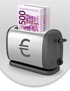 Detail aus der betrügerischen Website: Im Logo ein Toaster, in dem Banknotenbündel mit 500-Euro-Banknoten stecken