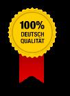 Detail aus der betrügerischen Website: Ein Siegel mit den Worten '100% Deutsch Qualität'.