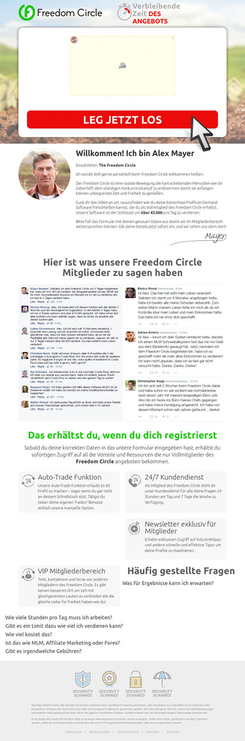 Screenshot der betrügerischen Website 'Freedom Circle'