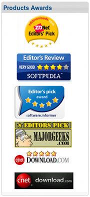 Detail aus der spambeworbenen Website: Products Awards, angeblich gegeben von ZDNet, Softpedia, software.informer, Majorgeeks, Download.com und cnet -- wenn das stimmte, brauchte er nicht zu spammen