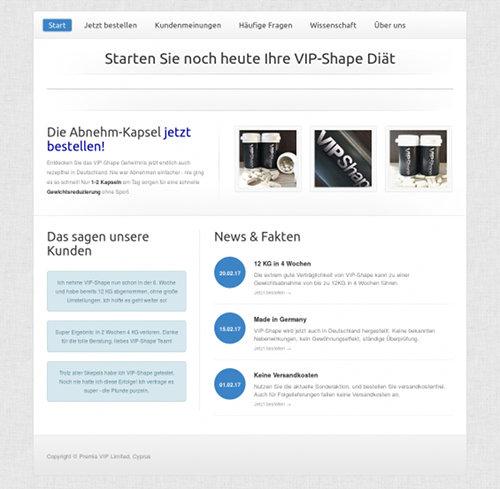 Startseite der Website, die das über illegale und asoziale E-Mail-Spam verkaufte Schlankheitsmittel 'VIP-Shape' verkauft.
