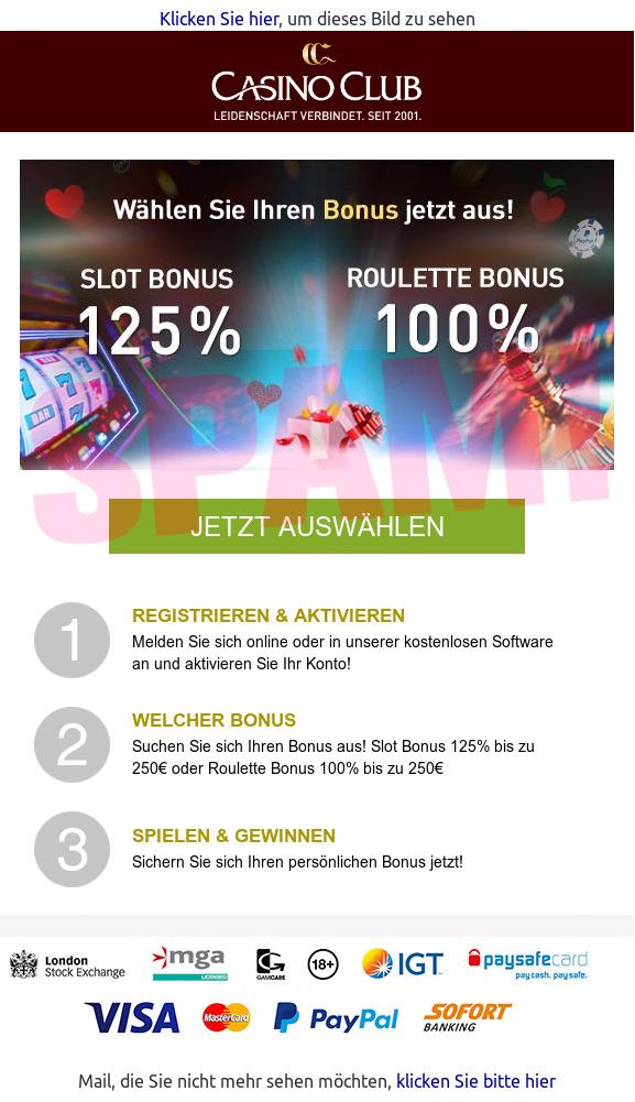 online casino club spam