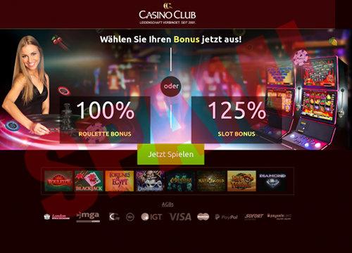 Screenshot der durch Spam beworbenen, mutmaßlich betrügerischen Website Casino Club