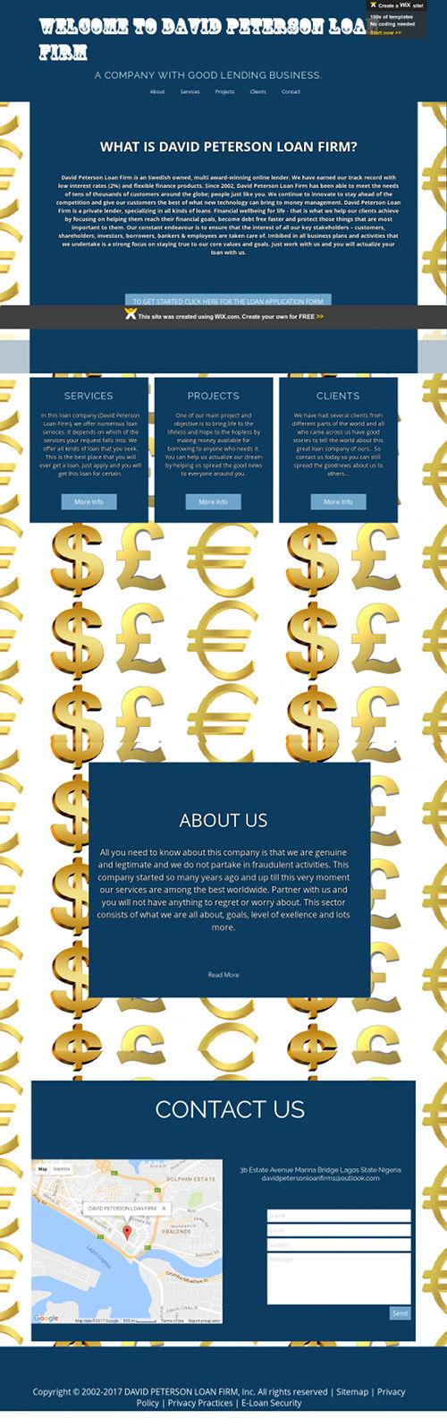 Screenshot der mit Wix gemachten Website des Darlehen-Vorschussbetrügers