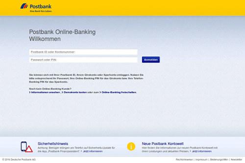Screenshot der Phishing-Seite: Anmeldedaten