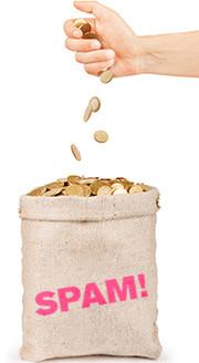 Ein Geldsack, der mit goldenen Münzen gefüllt wird