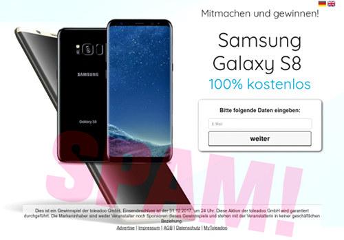 Screenshot der durch Spam beworbenen, vorgeblichen Samsung-Gewinnspiel-Seite
