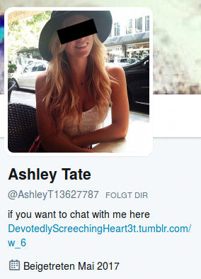 Ashley Tate -- @AshleyT13627787 folgt dir -- if you want to chat with me here https://DevotedlyScreechingHeart3t.tumblr.com/w_6