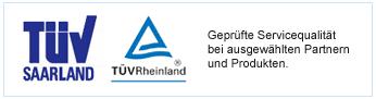 Detail aus der betrügerischen Website: Ein Logo des TÜV Saarland und ein Logo des TÜV Rheinland, daneben der Text 'Geprüfte Servicequalität bei ausgewählten Partnern und Produkten'.