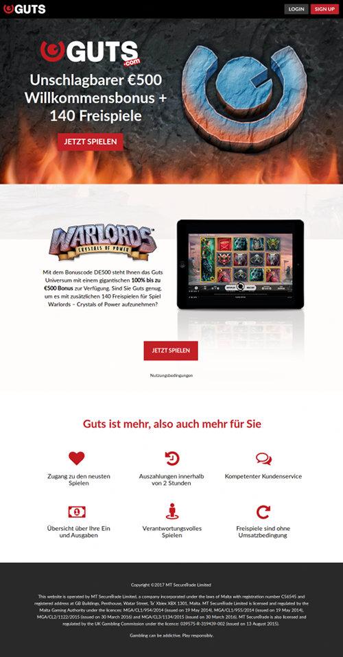 Screenshot der betrügerischen, durch Spam beworbenen Website für das Guts Casino