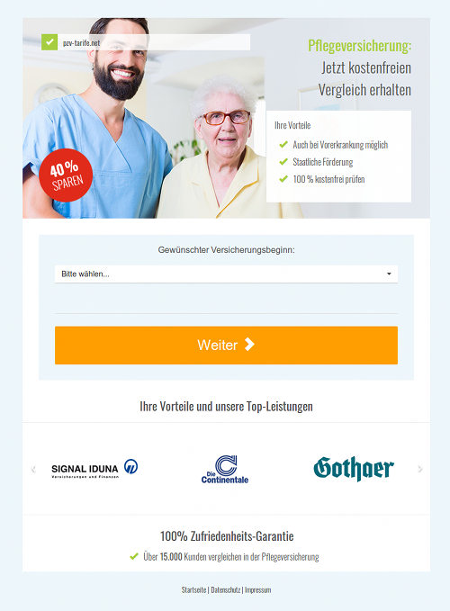 Screenshot der durch Spam beworbenen, betrügerischen Website für einen angeblichen Vergleich von Pflegeversicherungen und Pflegezusatzversicherungen.