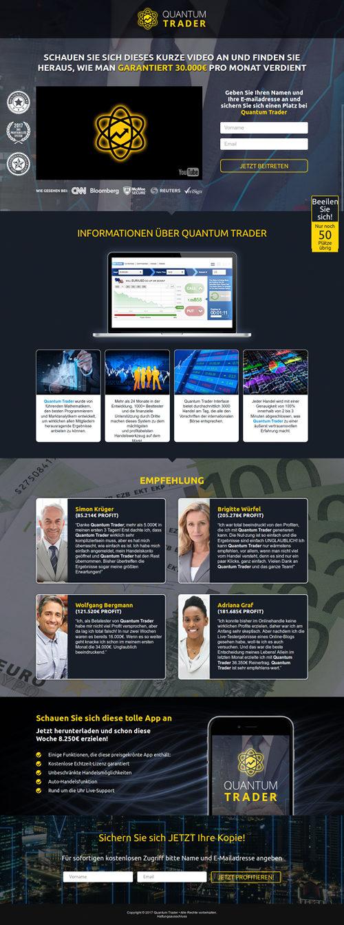 Screenshot der betrügerischen Website 'Quantum Trader'.