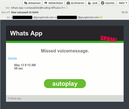 Whats App -- Missed voicemessage. -- Details -- May 13 8:10 AM, 08 sec -- autoplay -- © Whats App