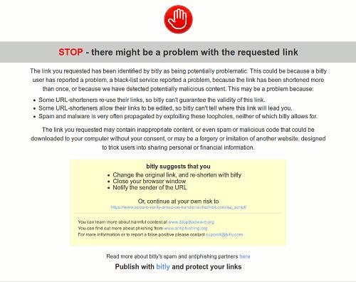 Screenshot der Warnseite von bit.ly für eine als Spam gemeldete URL