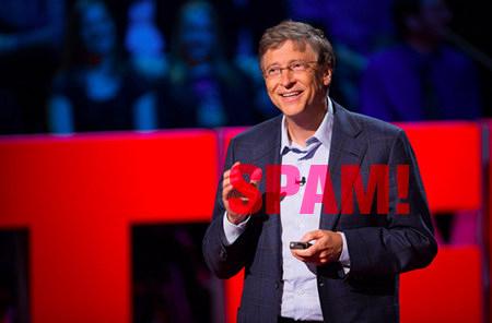 Foto von Bill Gates bei einem Vortrag
