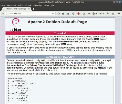 Screenshot der verlinkten Website. Es gibt eine Platzhalterseite eines unkonfigurierten Apache-Webservers in einem Debian GNU/Linux