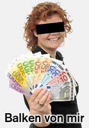Ein weiteres Detail aus der betrügerischen Website: Eine lächelnde Frau präsentiert einen großen Fächer mit Banknoten