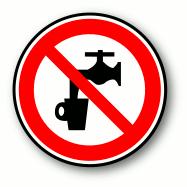Warnsymbol: Das Wasser ist kein Trinkwasser