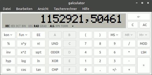 Taschenrechner-Anwendung, die 1.152.921,50 im Display zeigt