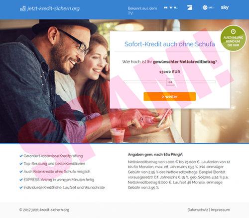 Screenshot der betrügerischen, durch Spam beworbenen Website