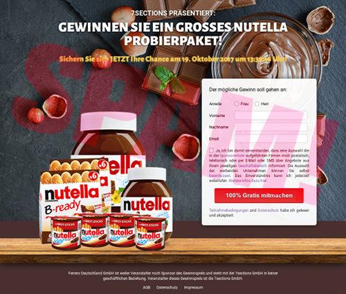 Screenshot der durch Spam beworbenen und überhaupt nicht empfehlenswerten Website in der Domain dein-probierpaket.de