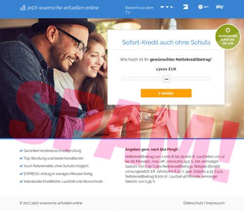 Screenshot der betrügerischen, durch Spam beworbenen Website für ein angebliches Darlehen ohne Schufa