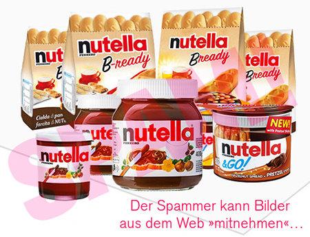 In die HTML-formatierte Spam eingefügtes Werbebild mit diversen Nutella-Produkten