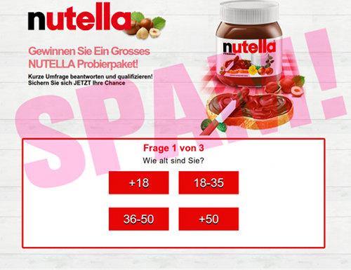 Screenshot der betrügerischen Website mit dem angeblichen Nutella-Gewinnspiel. Erste Frage: Wie alt sind sie? [+18] [18-35] [36-50] [+50]