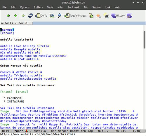 Darstellung einer ohne Javascript angeblich nicht darstellbaren Website in Emacs w3m