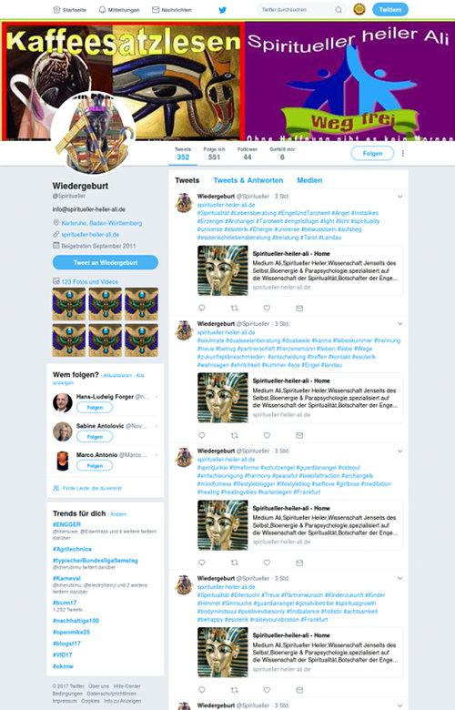 Screenshot des Twitterkanales von Wiedergeburt (@Spiritueller). Links oben in der Titelgrafik groß das Wort 'Kaffeesatzlesen'.