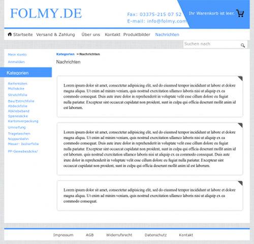Screenshot der 'Nachrichten' aus dem in der Spam verlinkten Webshop. Es stehen dort drei Texte, und zwar Lorem-ipsum-Blindtexte