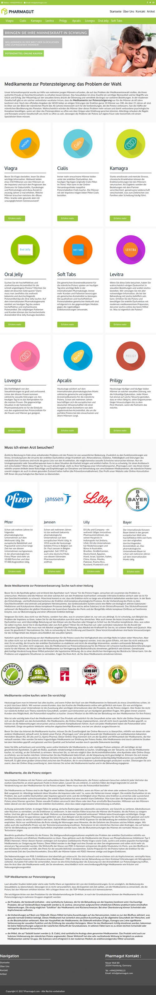 Screenshot der Startseite der Website: Es gibt nur Potenzmedikamente und ganz viel ermüdend zu lesenden Text.